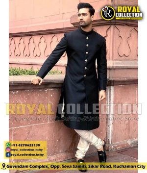 BLACK ACHKAN FABRIC ROYAL COLLECTION KUCHAMAN
