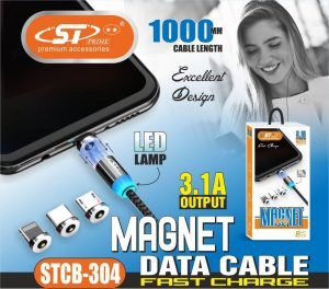 Fast Charge Magnet Data Cable with iphone, type-c and normal charging socket