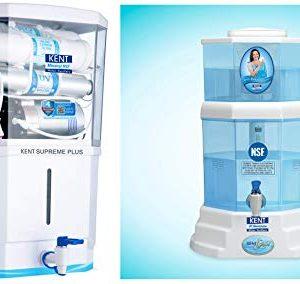 KENT Supreme Plus 2020 (11112), Zero Water Wastage, Wall Mountable, RO + UV + UF + TDS Control + UV in Tank, 8 L Tank, White, 20 LPH Water Purifier & KENT Gold 20-L