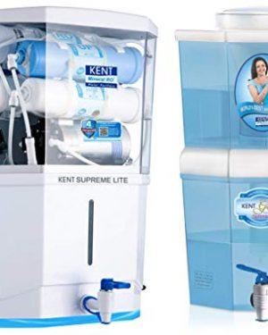 KENT Supreme Lite 2020 (11110), Wall Mountable, RO + UF + TDS Control, 8 L Tank, White, 20 LPH Water Purifier & KENT Gold Optima 10-Litres Gravity Based Non-electric Water Purifier (Aqua Blue/White)