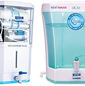 KENT Supreme Plus 2020 (11112), Zero Water Wastage, Wall Mountable +UV in Tank, 8 L Tank, White, 20 LPH Water Purifier & KENT Maxx 7-Litres Wall Mountable/Table Top UV + UF (White and Blue) 60-Ltr/hr