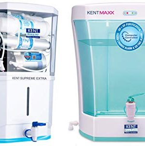 KENT Supreme Extra 2020 (11113), Zero Water Wastage+ Alkaline 8 L Tank, White, 20 LPH Water Purifier & KENT Maxx 7-Litres Wall Mountable/Table Top UV + UF (White and Blue) 60-Ltr/hr