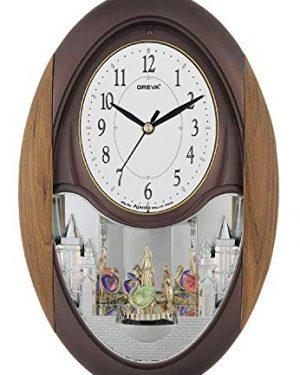 Oreva Plastic Rotating and Musical Pendulum Wall Clock (23.0 cm x 6.0 cm x 35.5 cm, AQ-2047) (Cola)
